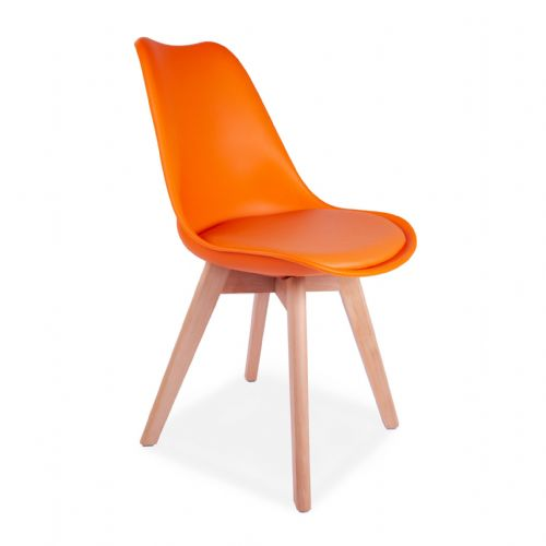 4x Tulip Pyramid Dining Chairs With Beech Legs, Orange